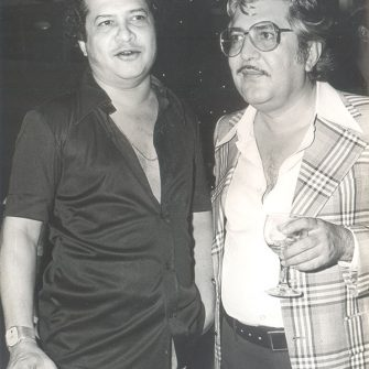 Laxmikant (Pyarelal) with N.N. Sippy during the making of Sargam