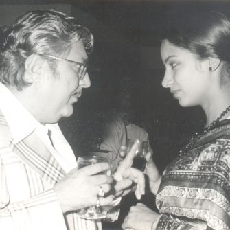 N.N. Sippy with Shabana Azmi on the set of Devata